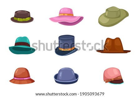Big set of different men's and women's hats for different seasons and weather. Vector illustration in flat style. Stock fotó ©