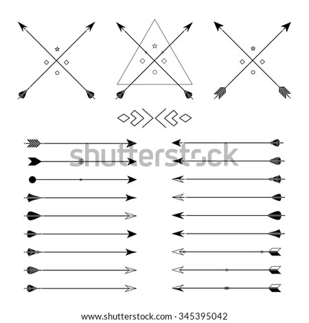Big set of different vector arrows. Hipster arrows collection. Set of Indian style arrows. Arrow for all design. Indian elements, tribal elements, template. Traditional hunting weapon. #345395042