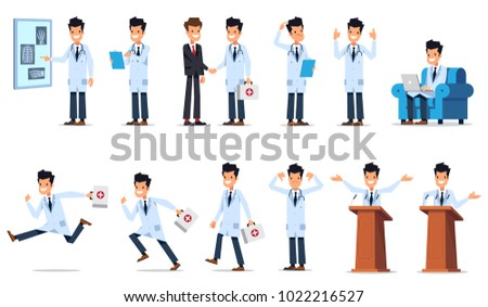 Big set of doctor character in different poses and situations. Flat style vector illustration isolated on white background. #1022216527