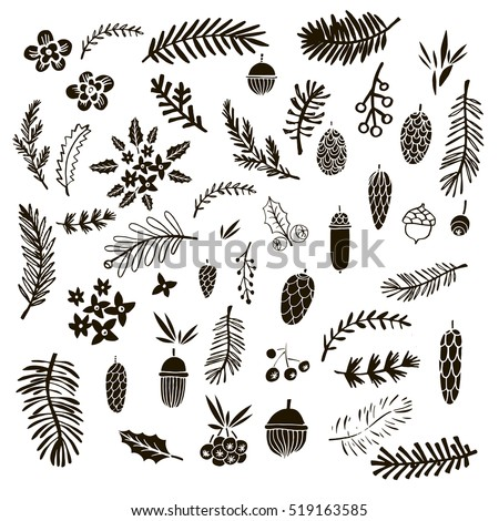 Big set of doodle elements  for  christmas design.Handdrawn acorn, pine  and branches.Isolated. Vector illustration.
