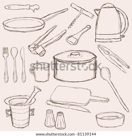 big set of doodle kitchen equipment