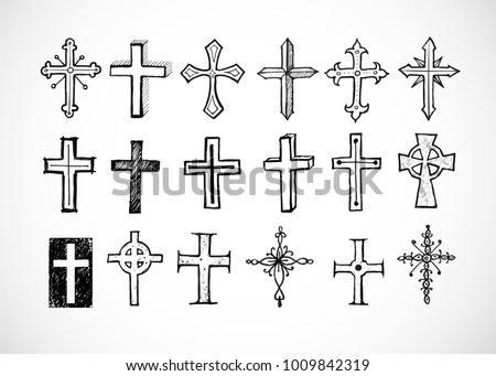 Big set of doodle sketch crosses on white background. Vector illustration.