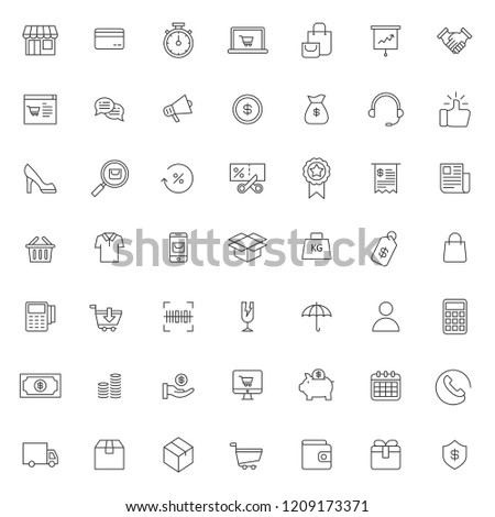 big set of ecommerce icon with simple outline and modern style, editable stroke vector eps 10 #1209173371