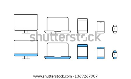 Big set of electronic devices in line design. Compact personal computer, smartphone, mobile phone, laptop. Vector Illustration