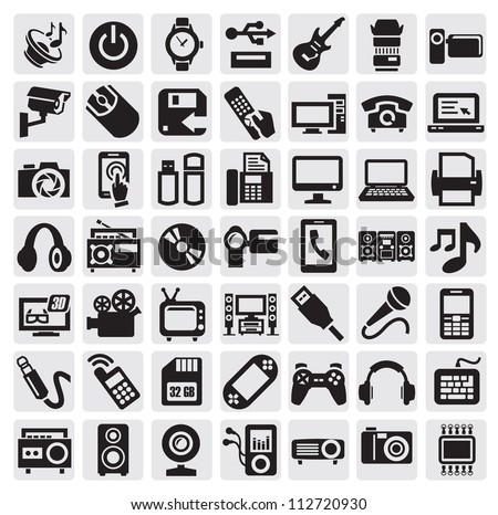 big set of electronic devices