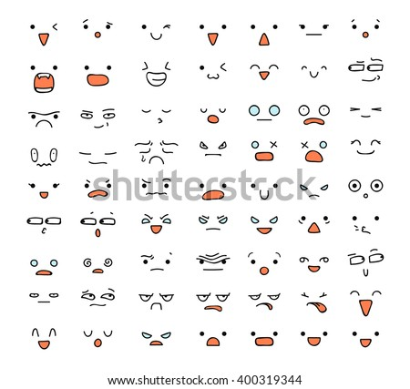 big set of 63 emotions isolated