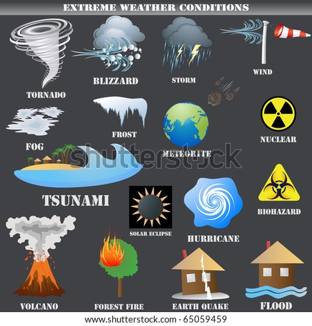 Big Set of Extreme weather conditions vector isolated on grey