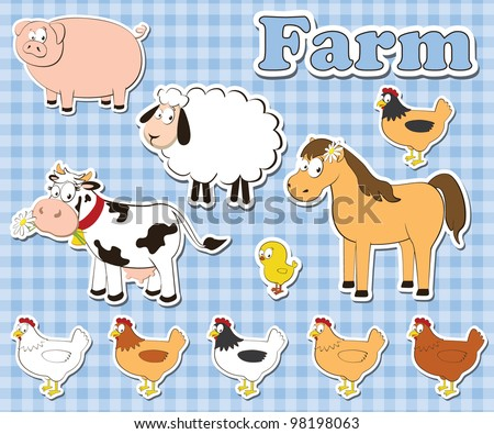 big set of farm animals on a checkered background. vector illustration. - stock vector