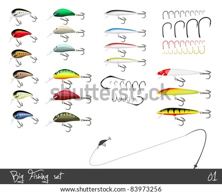 big set of fishing gear vector