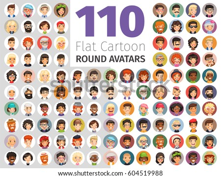 Big set of 110 flat cartoon round avatars. Casual people. Clipping paths included.