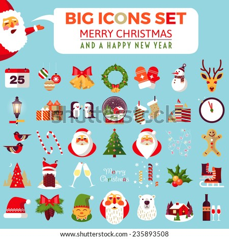Big Set Of Flat Christmas Icons Christmas And Happy New Year – New Year Greeting Card Template
