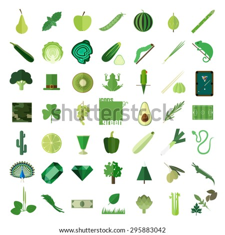 big set of flat icons in green
