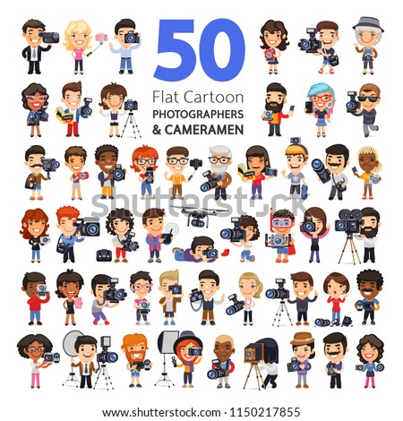 Big set of 50 flat styled cartoon characters of photographers and cameramen in various poses with cameras, camcorders and equipment. Isolated on white background. Clipping paths included.
