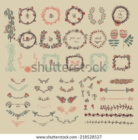 big set of floral graphic
