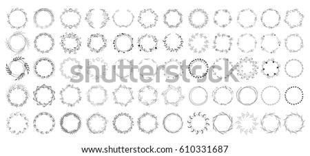big set of floral round frames. vector illustration.