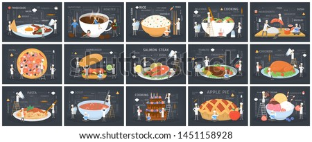 Big set of food. Small people in chef uniform and hat cook giant food. Pizza and burger, sushi and salad, soup and coffee. Delicious dinner. Catering concept. Vector flat illustration