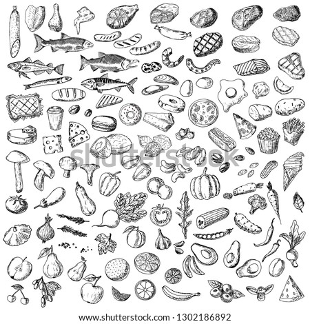 Big set of food. Vector cartoon illustrations. Isolated objects on a white background. Hand-drawn style. #1302186892