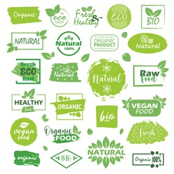 Big set of fresh eco organic grunge labels on a white background