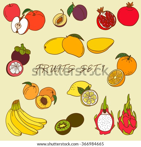 big set of fruits icon hand