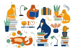 Big set of funny cats are literary fans. Cute animals lovers of literature. Cartoon cats read and sit on a large stack of books. Hand drawn Scandinavian vector illustration. Handwritten lettering