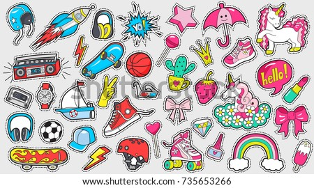 Big set of girl's and boy's colored stickers on white