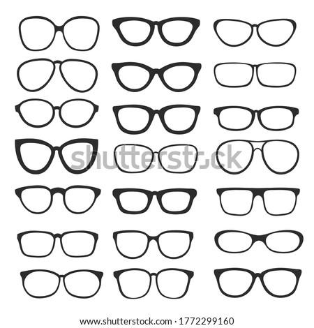 big set of glasses icon shape