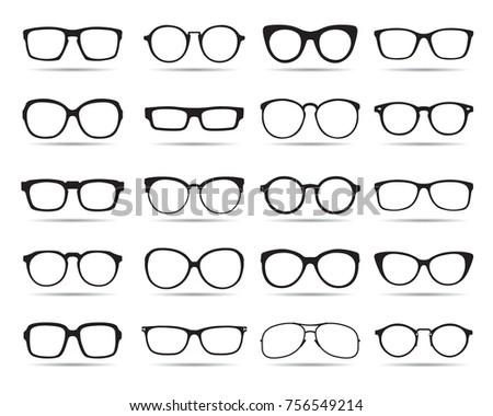 Big set of Glasses. Vector Icons