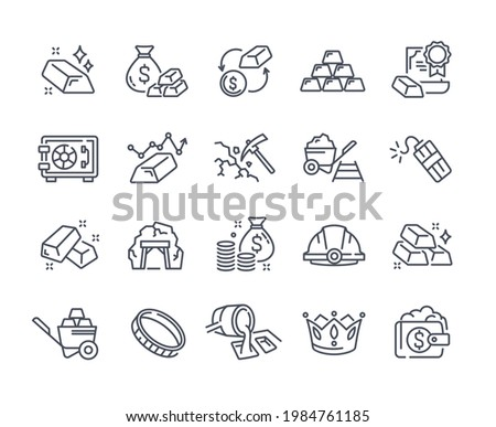 Big set of gold icons. Price change, mine, dynamite, safe deposit, stack of gold bars. Editable Stroke. Collection of outlined linear minimal style vector illustrations isolated on white background