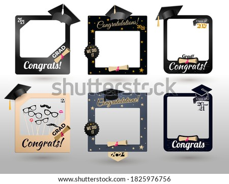 Big Set of graduation party photo booth props. Concept for selfie. Frame with cap for grads. Congratulation grad quote. Vector illustration. Isolated on white background.