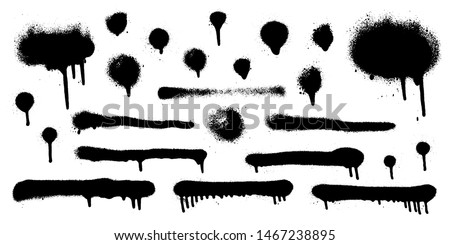 Big set of graffiti spray banner. Vector spray paint shapes in black on white background