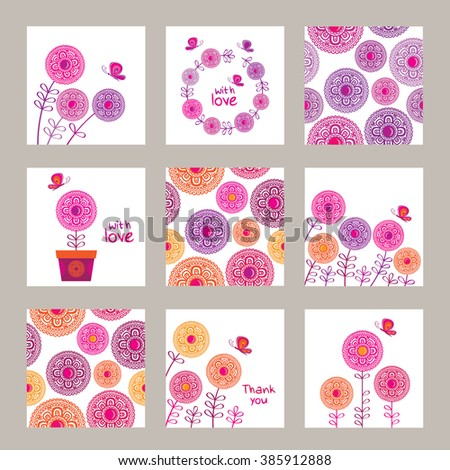 big set of greeting cards for