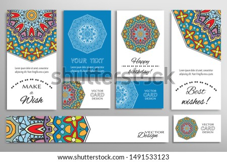 Big set of greeting Cards or wedding Invitations. Postcards template with inscription Make a Wish, Best Wishes, Happy Birthday. Banner, business cards with mandala ornament. Isolated design elements
