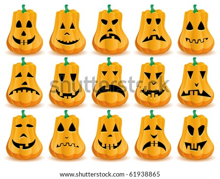 Big set of 15 Halloween pumpkins with  mouths, eyes and noses as Jack O`Lantern face, part 14, vector illustration