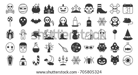 big set of halloween silhouette