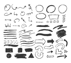Big set of hand drawn different elements isolated on white background. Circles, arrows, smears, squares.