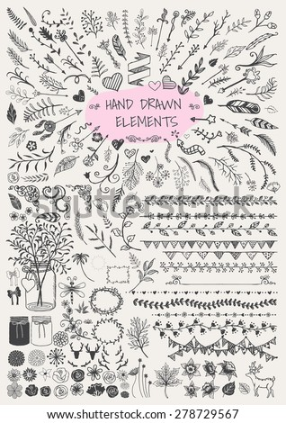 big set of hand drawn floral