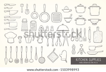 Big set of 52 hand drawn kitchen supplies, including different types of cooking knives, pots and pans, strainers, graters, skimmers, ladles, and more kitchen tools. Doodle outline collection.
