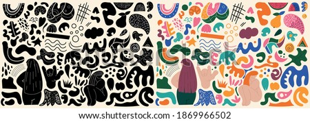 Big set of Hand drawn various isolated colorful and black and white shapes and doodle objects. Abstract vector illustration.