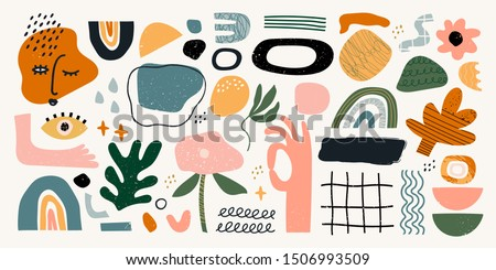Big set of hand drawn various shapes and doodle objects. Abstract contemporary modern trendy vector illustration. All elements are isolated stock photo