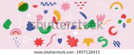 Big set of hand drawn various shapes and doodle objects. Abstract contemporary modern trendy vector illustration. Vector elements isolated on a white background.