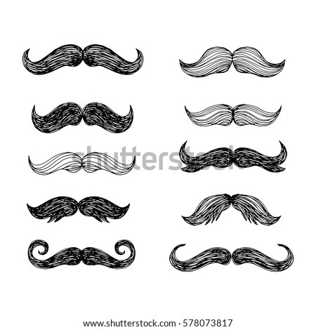 Big set of hand drawn vector  mustache. Funny mustache. Collection of cartoon barber silhouette hairstyle . Various types of whiskers.Isolated. Vector illustration.