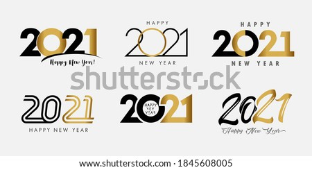Big Set of 2021 Happy New Year gold and black logo text design. 20 & 21 number design template. Collection of 2021 Xmas symbols. Vector illustration with black labels isolated on white background