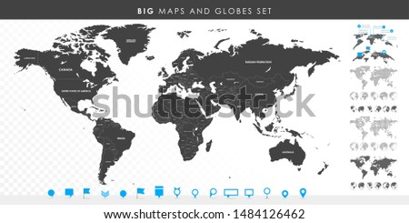 Big set of High Detailed Maps and Globes. Pins collection. Different effects. World Map and infograpchic elements. Political countries World Map. Vector illustration.