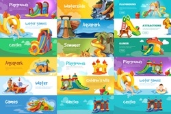 Big set of horizontal web banners with playgrounds and water parks. Illustrations with inflatable castles. Vector template for designers with place for your text