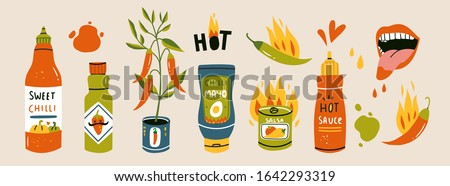 Big set of hot Chilli sauces. Red and green Hot Chili peppers. Various spicy dressings, mayo, salsa. Burning hot. Different bottles. Hand drawn colored vector illustration. All elements are isolated Stockfoto ©