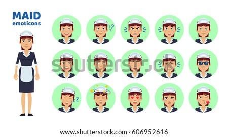 big set of housemaid emoticons