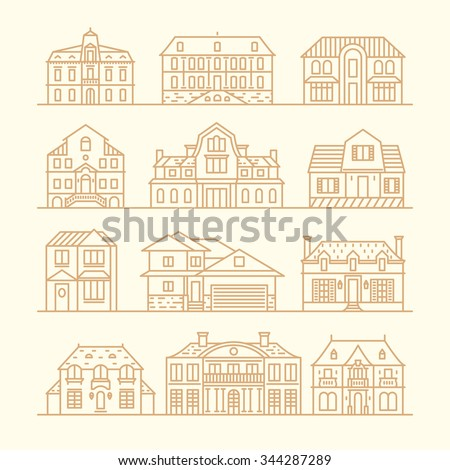 Big set of houses icons, design elements, vector illustration, trendy linear style.