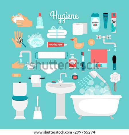 Big set of hygiene: bath, toilet, sink, sponge, shampoo, shower, soap, towel, toothbrush, toothpaste