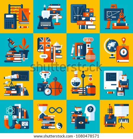 Big set of icons about education and college subjects. Modern flat style. Colorful illustrations.