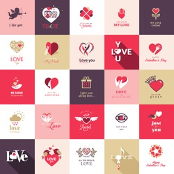Big set of icons for Valentines day, Mothers day, wedding, love and romantic events